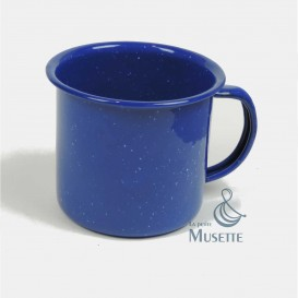 Blue enameled cup